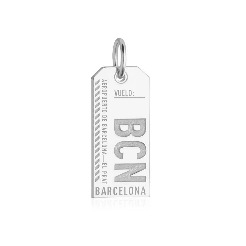 Silver Spain Charm, BCN Barcelona Luggage Tag - JET SET CANDY