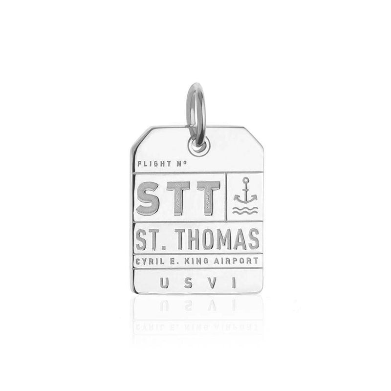 Silver Caribbean Charm, STT St. Thomas Luggage Tag - JET SET CANDY