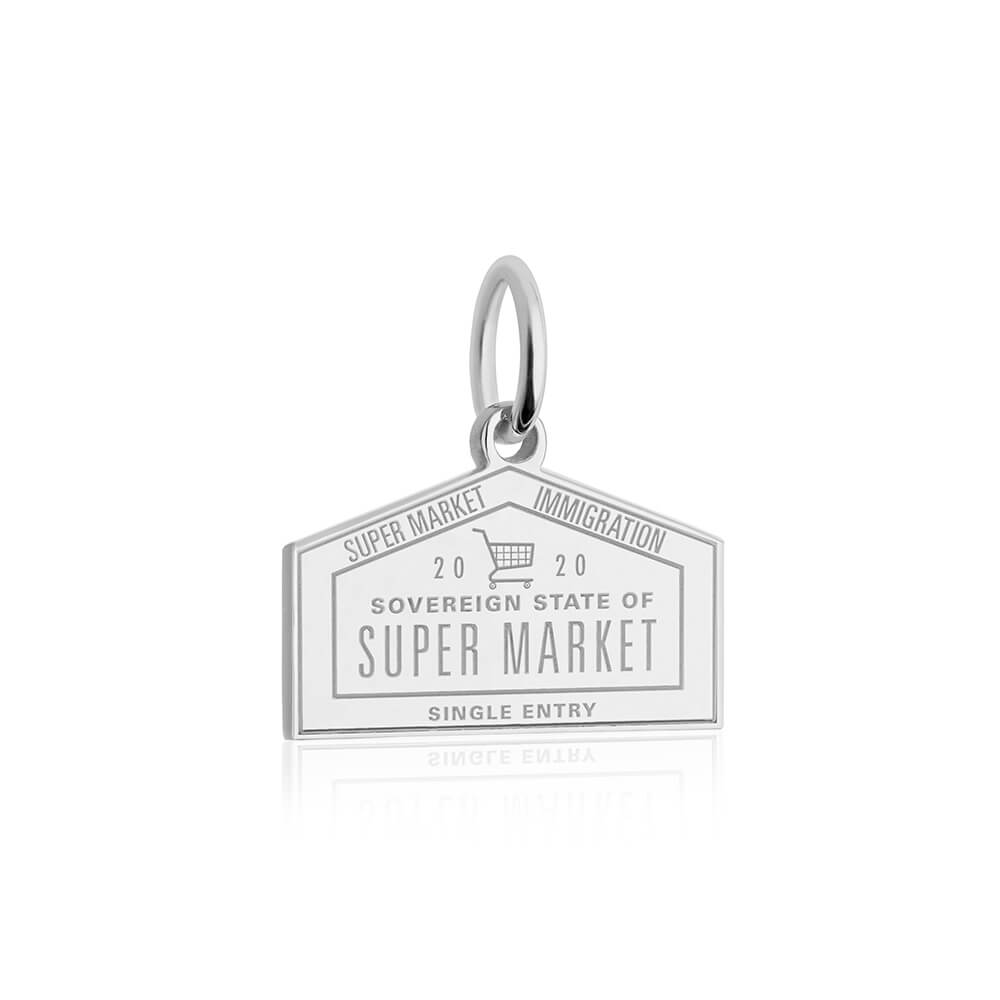 Sterling Silver Supermarket Passport Stamp Charm