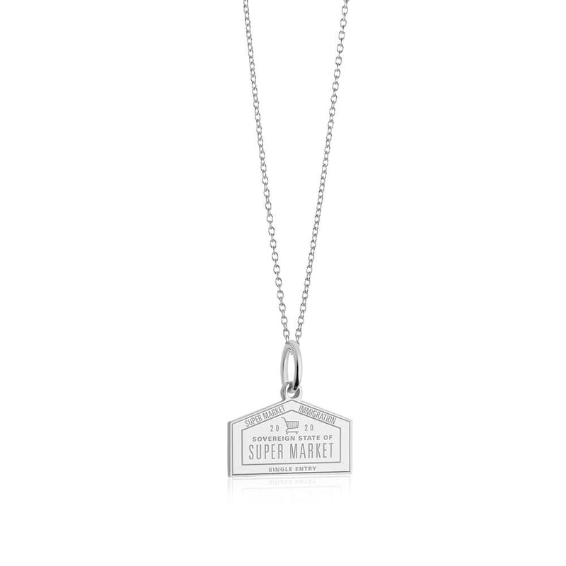 PRE ORDER: Sterling Silver Supermarket Passport Stamp Charm (SHIPS LATE FEB.)