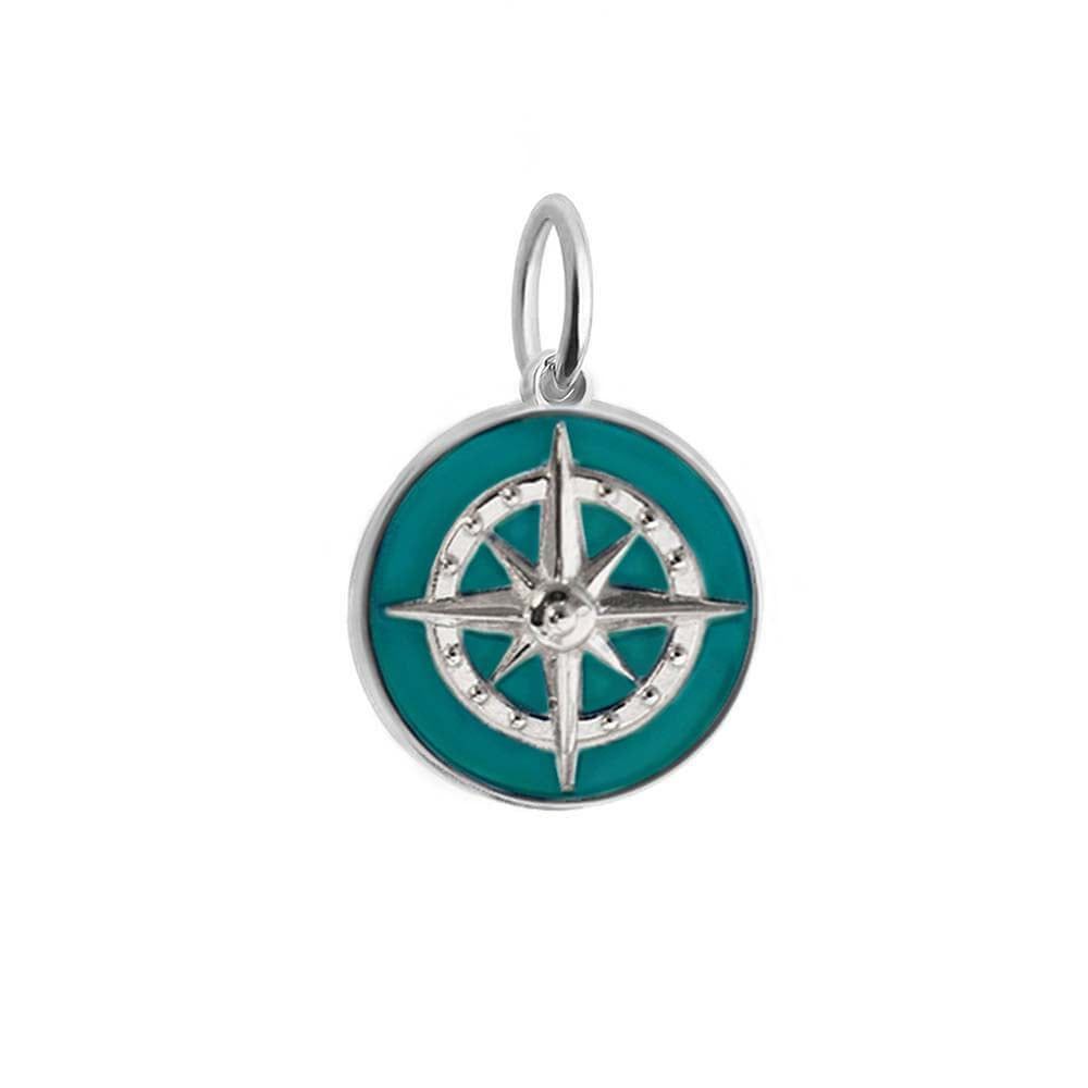 Large Silver Teal Enamel Compass Charm - JET SET CANDY