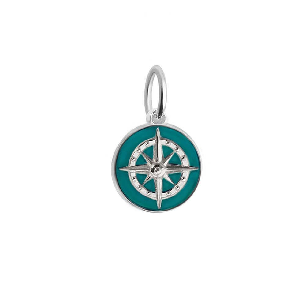 Mini Silver Teal Enamel Compass Charm - JET SET CANDY