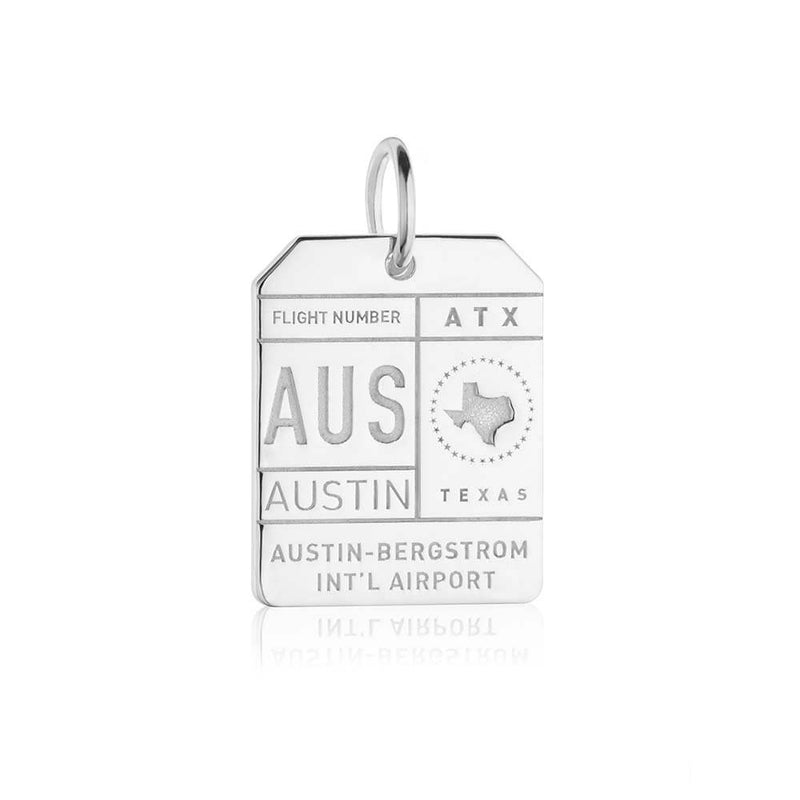 Sterling Silver Texas Charm, AUS Austin Luggage Tag - JET SET CANDY
