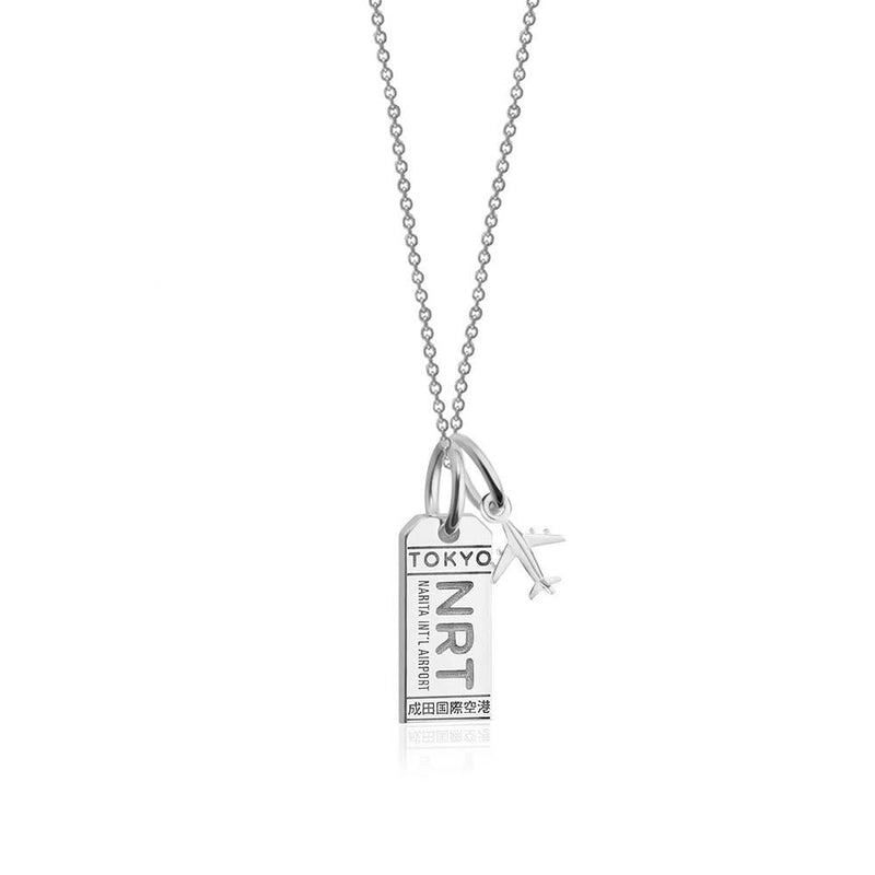 Silver Mini Tokyo, Japan Necklace, Luggage Tag Charm