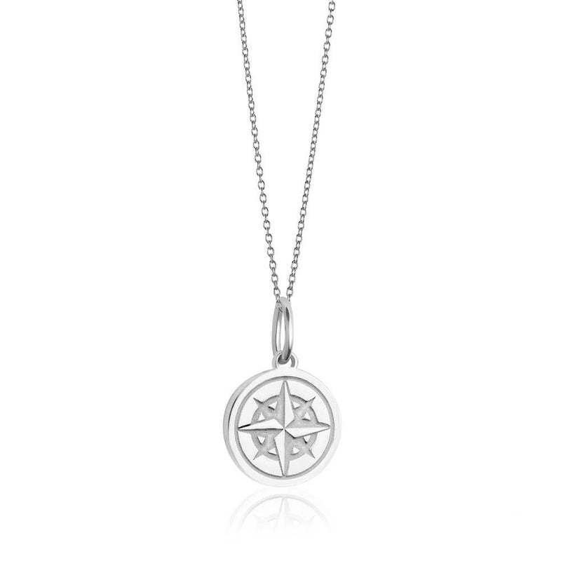 Mini Silver Tolkien Compass Charm Necklace - JET SET CANDY