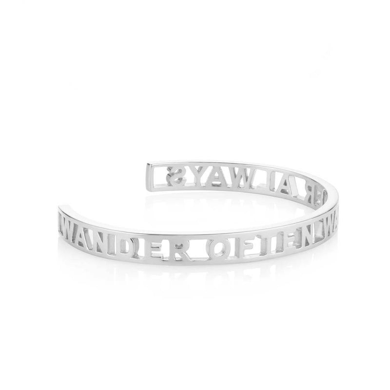 "Silver Travel Inspired Cutout Cuff ""Wander Often Wander Always"" - JET SET CANDY"