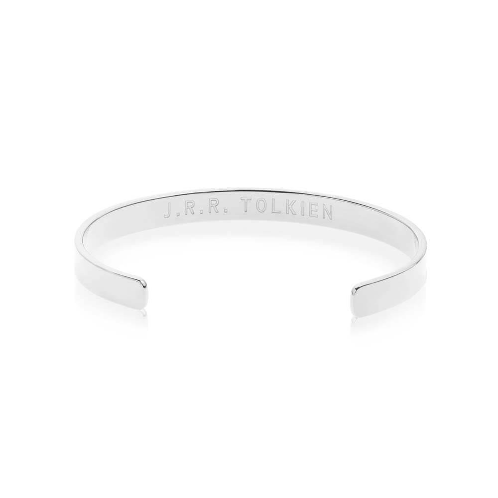 "Silver Inspirational Cuff Bracelet ""Not All Those Who Wander Are Lost"" - JET SET CANDY"