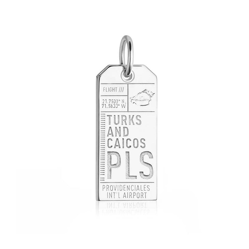 Silver Turks and Caicos Charm, PLS Luggage Tag - JET SET CANDY
