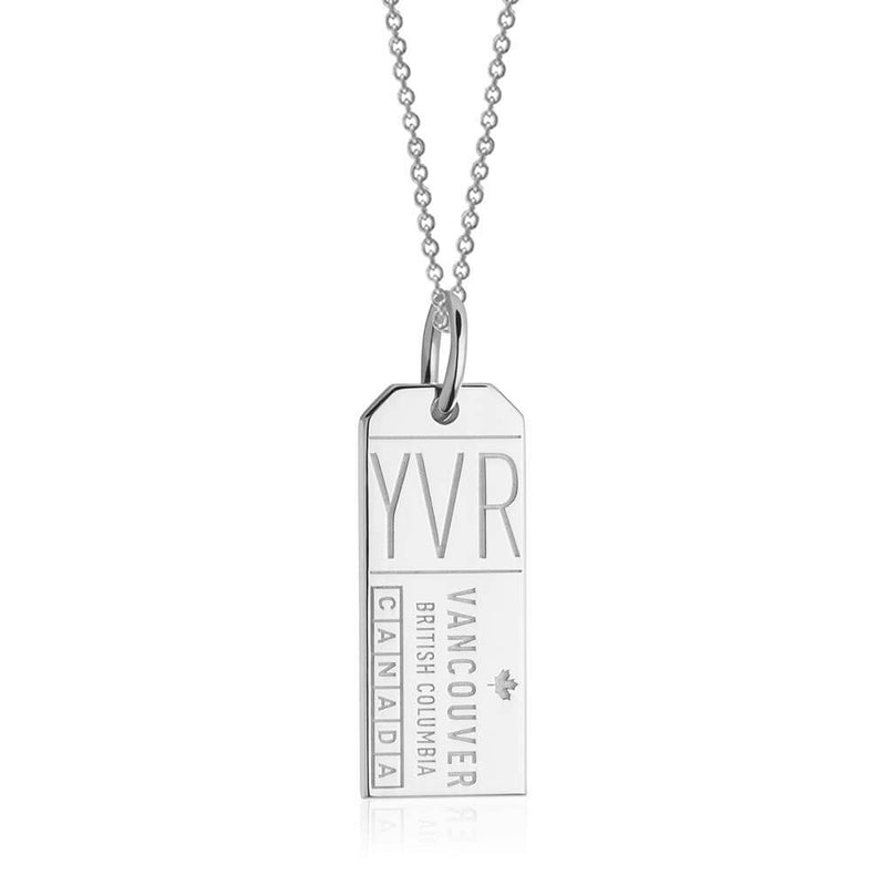 Silver Canada Charm, YVR Vancouver Luggage Tag - JET SET CANDY
