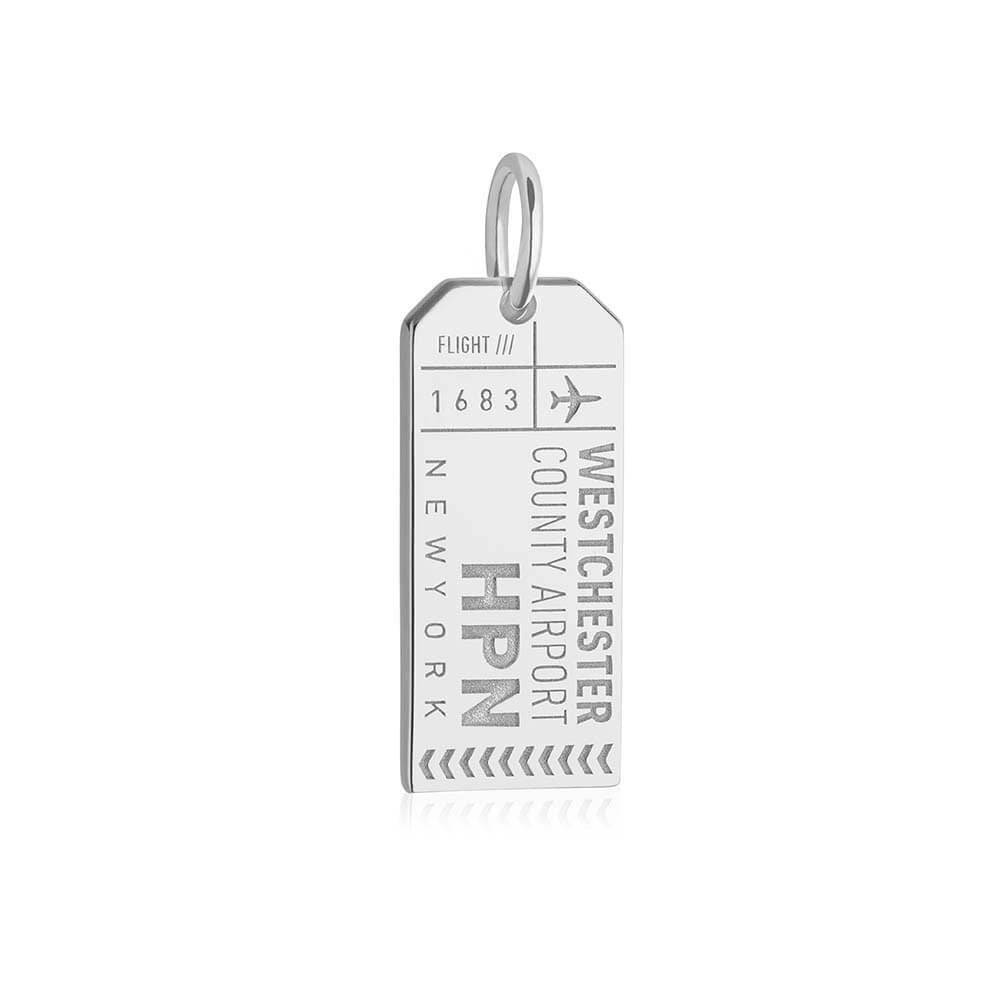 Silver New York Charm, HPN Westchester County Luggage Tag - JET SET CANDY