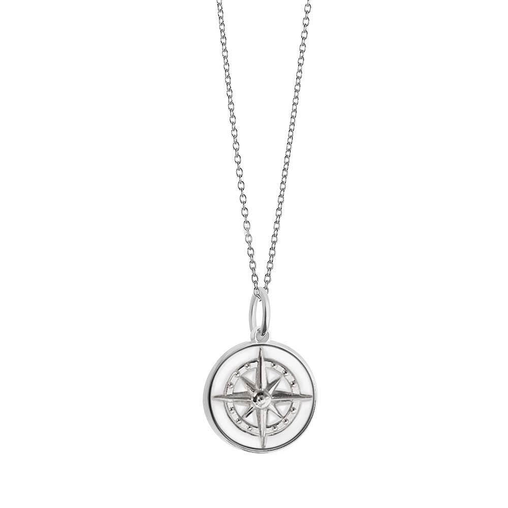 Large Silver White Enamel Compass Charm - JET SET CANDY