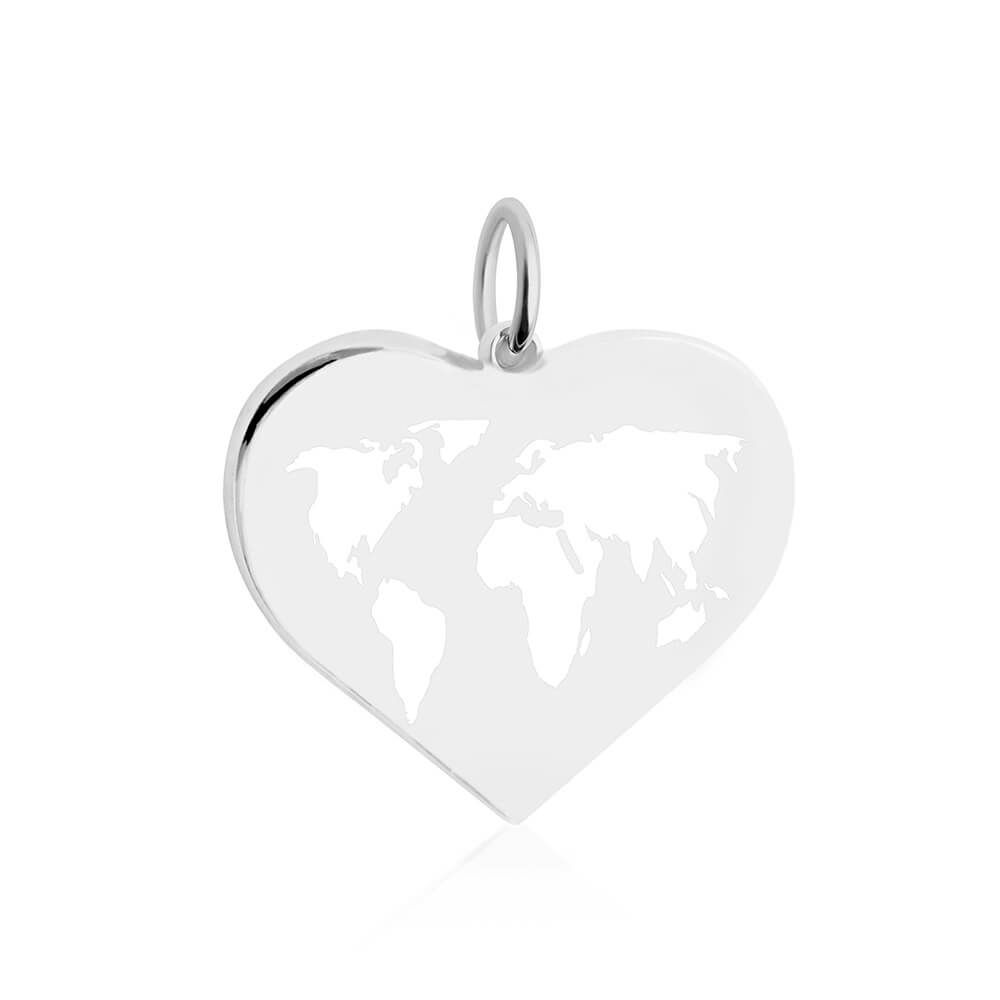 Large Silver World Heart Map Charm with White Enamel