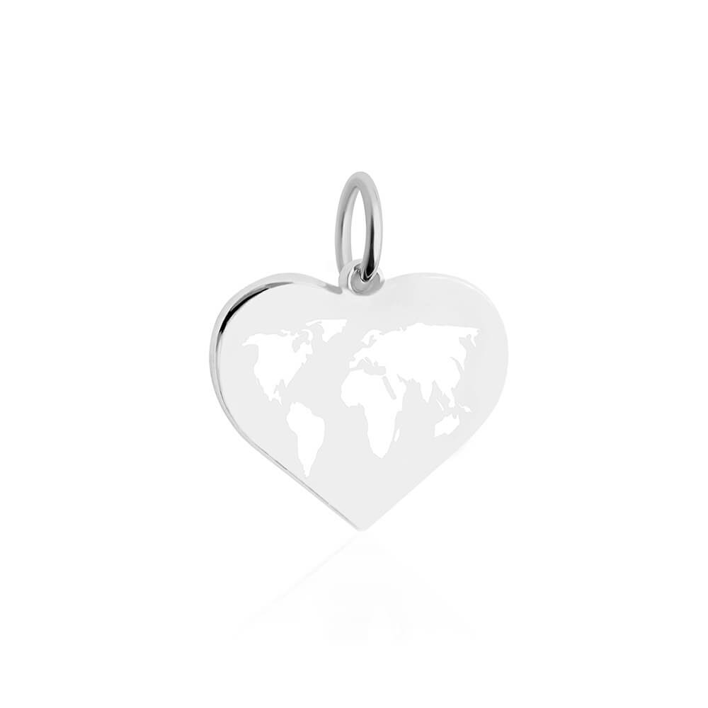 Medium Silver World Heart Map Charm with White Enamel