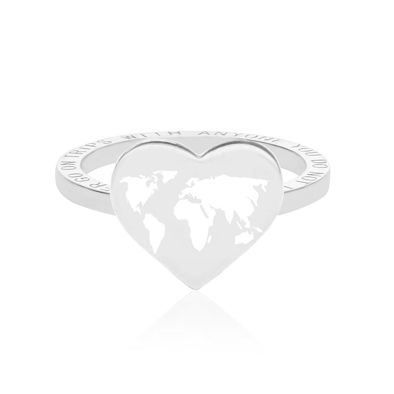 Silver World Heart Map Ring with White Enamel