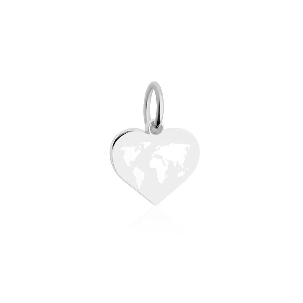 Mini Silver World Heart Map Charm with White Enamel (SHIPS EARLY FEB.)