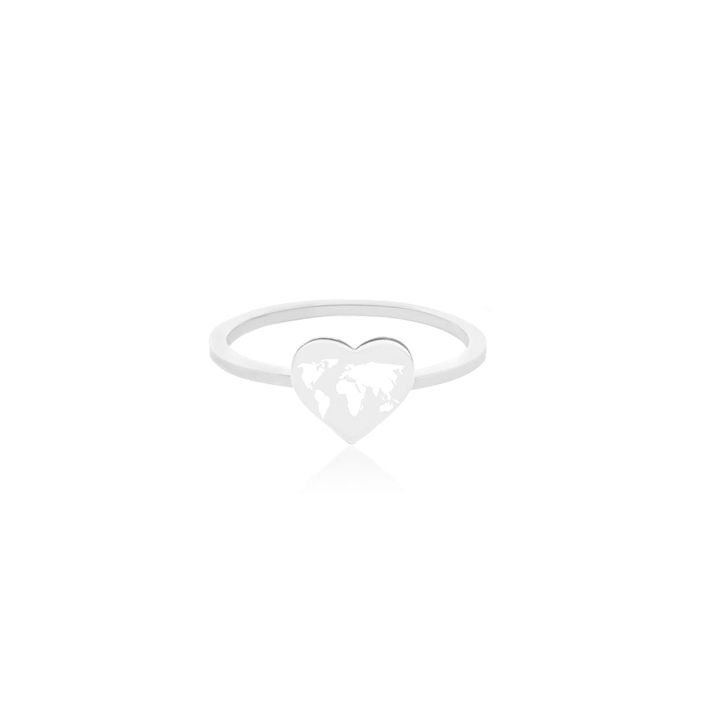 Silver World Heart Map Midi Ring with White Enamel (SHIPS MID DEC.)
