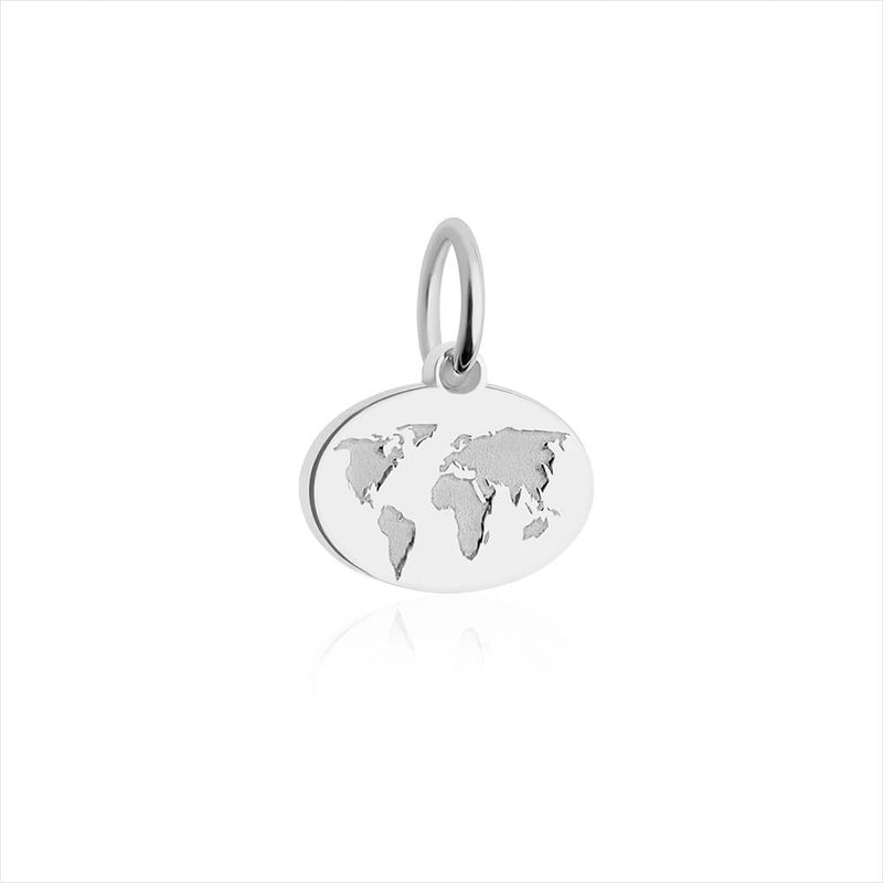 GWP-Mini Silver World Map Charm - JET SET CANDY