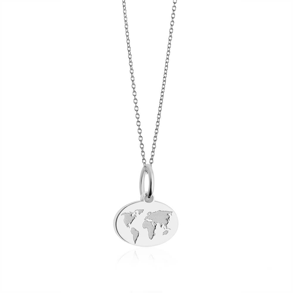 Mini Silver World Map Charm Necklace (SHIPS JUNE) - JET SET CANDY