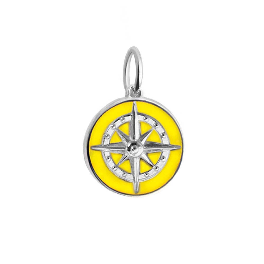 Large Silver Yellow Enamel Compass Charm (BACK ORDER-SHIPS LATE MARCH) - JET SET CANDY