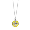 Large Silver Yellow Enamel Compass Charm - JET SET CANDY