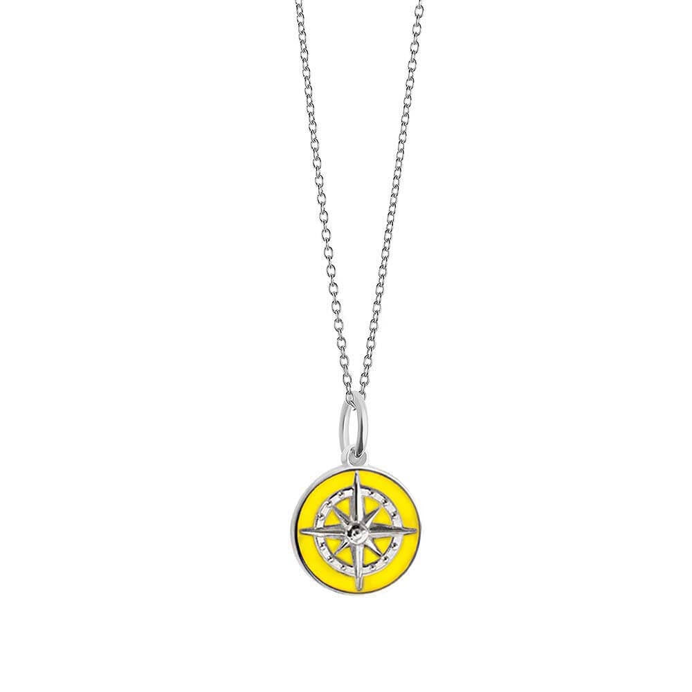 Silver Mini Yellow Enamel Compass Charm (BACK ORDER-SHIPS LATE MARCH) - JET SET CANDY