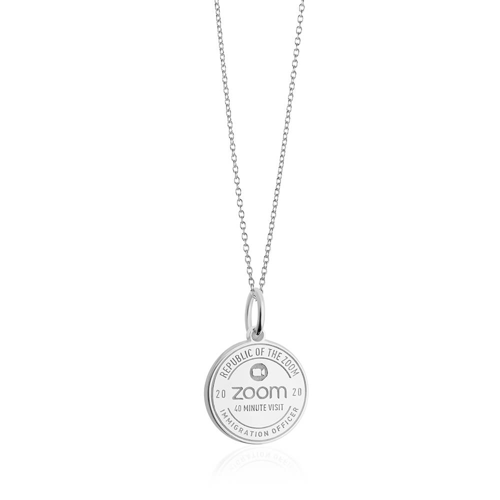 Sterling Silver Zoom Passport Stamp Charm