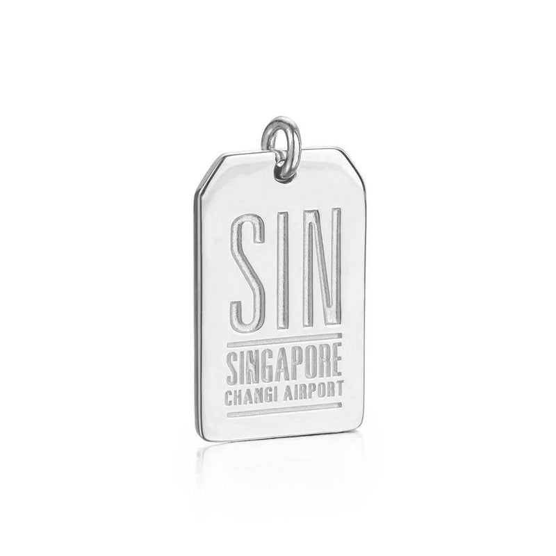 Silver Singapore Charm, SIN Luggage Tag - JET SET CANDY