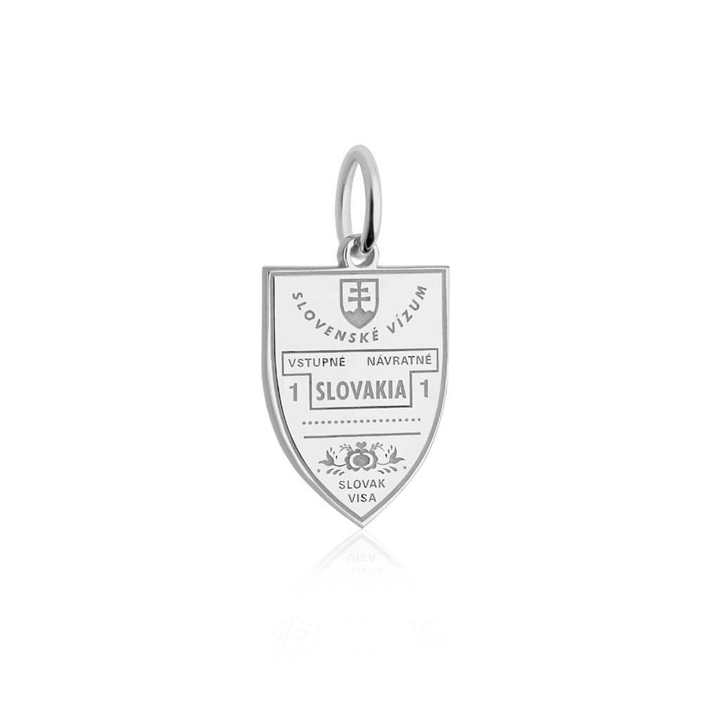 Sterling Silver Travel Charm, Slovakia Passport Stamp - JET SET CANDY