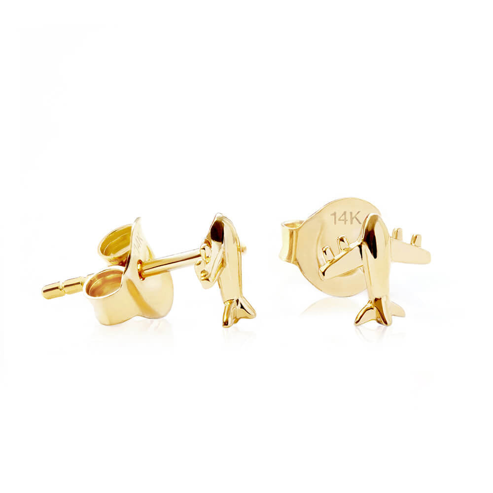 Solid Gold Airplane Earrings