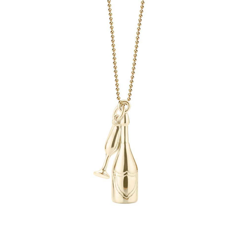 Solid Gold Champagne Charm - JET SET CANDY