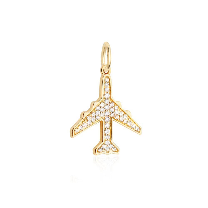 Solid Gold Diamond Pavé Plane Charm