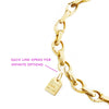 Slim Solid Gold Charm Bracelet with 7 Charms