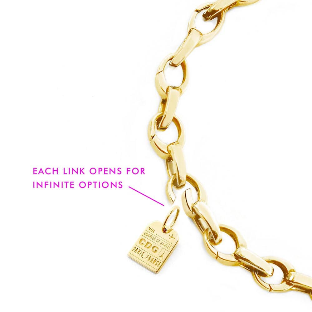 SLIM SOLID GOLD BRACELET BUNDLE WITH 7 CHARMS (SHIPS LATE NOV.)
