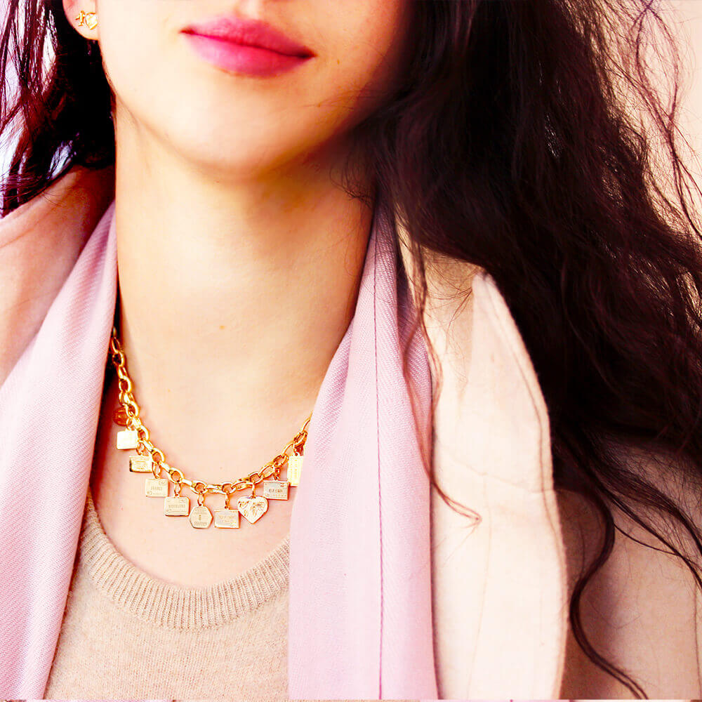 SLIM Solid Gold Infinity Link Charm Necklace