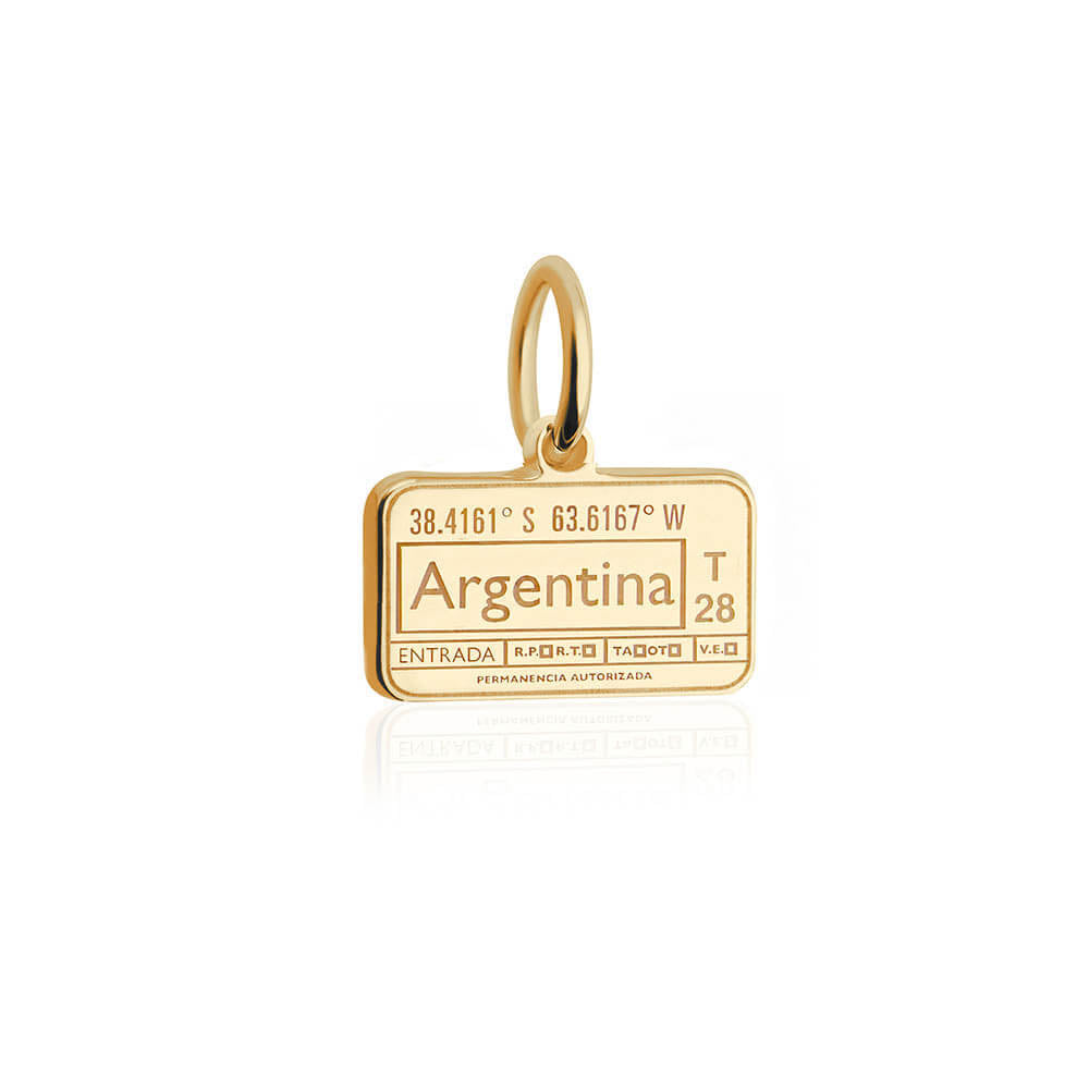 Mini Solid Gold Argentina Passport Stamp Charm