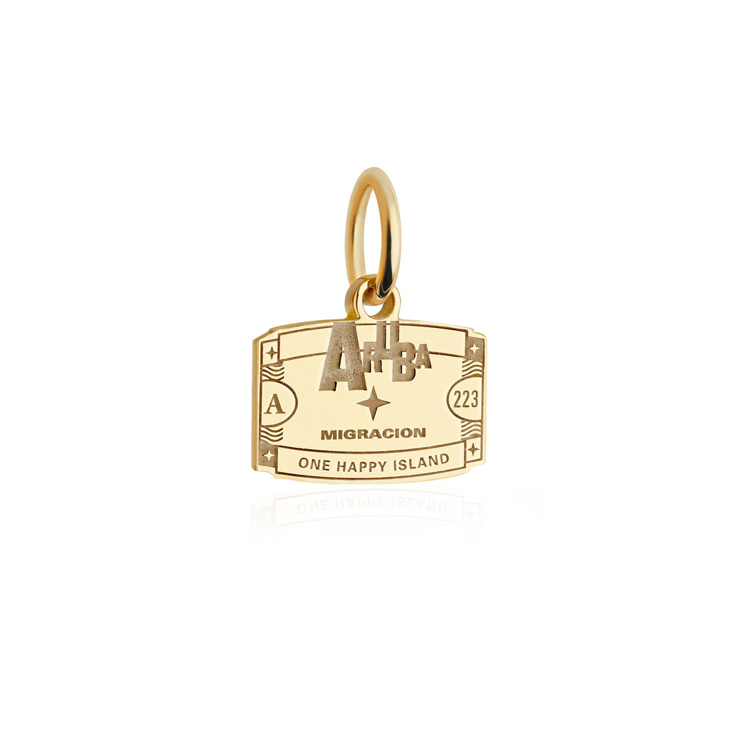 Mini Solid Gold Aruba Passport Stamp Charm