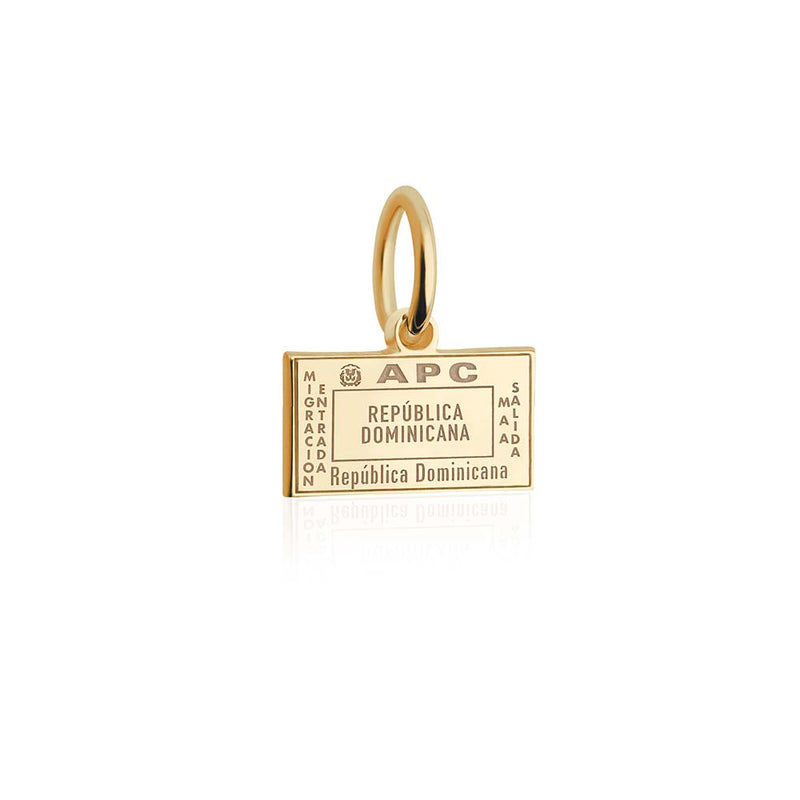 Solid Gold Mini Dominican Republic Passport Stamp Charm