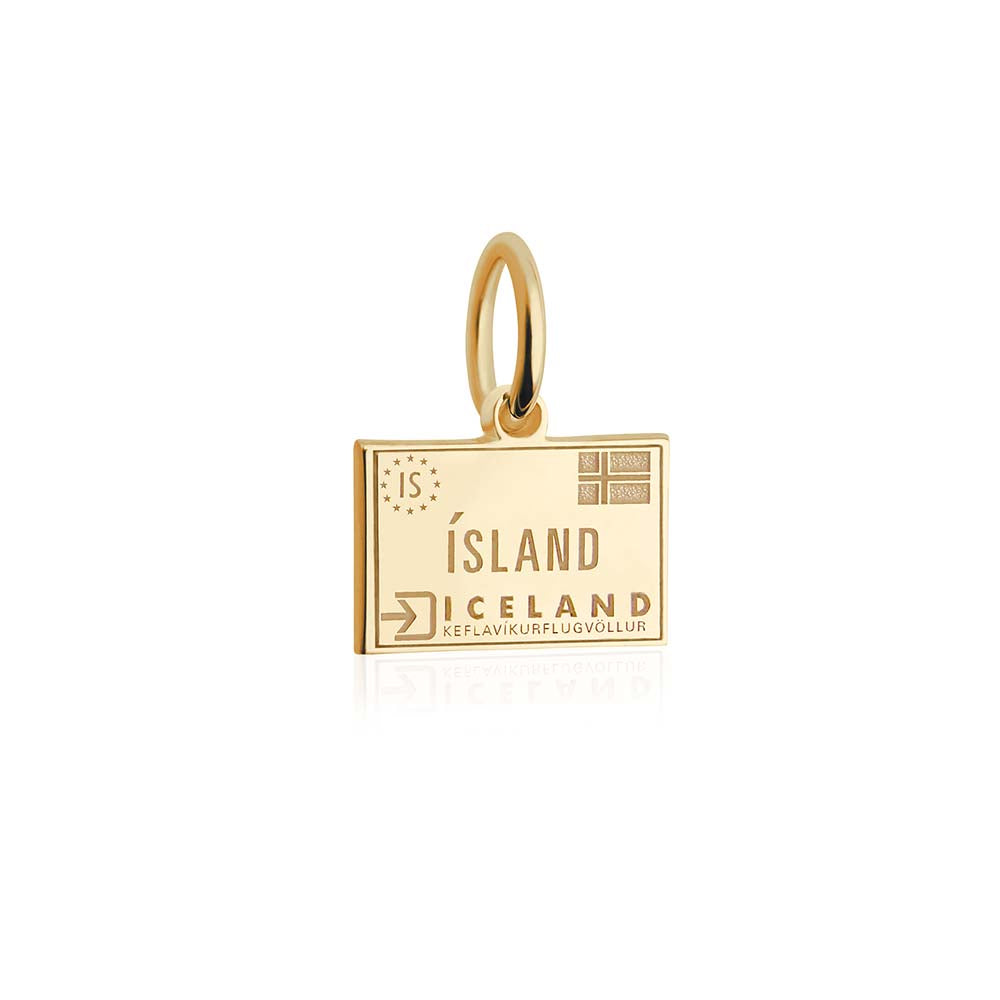 Mini Solid Gold Passport Stamp Charm: Iceland - JET SET CANDY