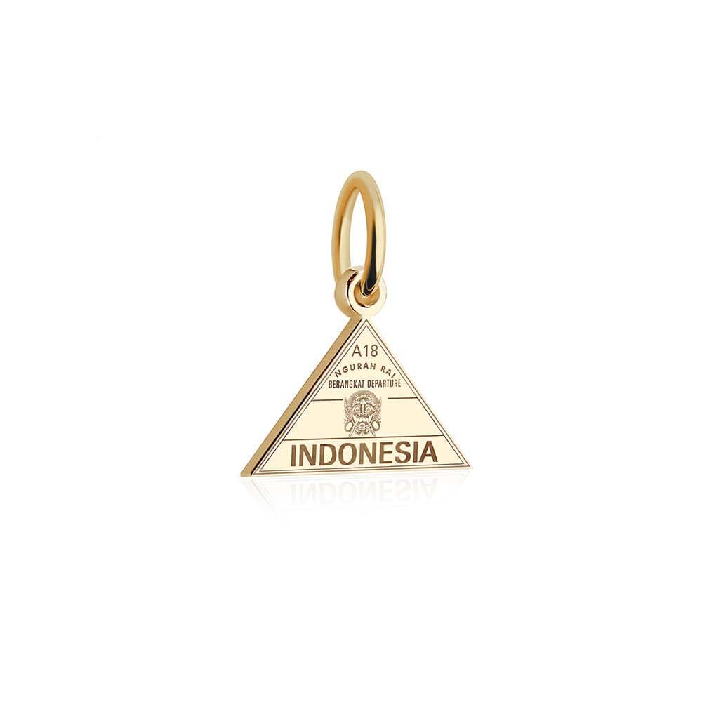 Mini Solid Gold Indonesia Passport Stamp Charm
