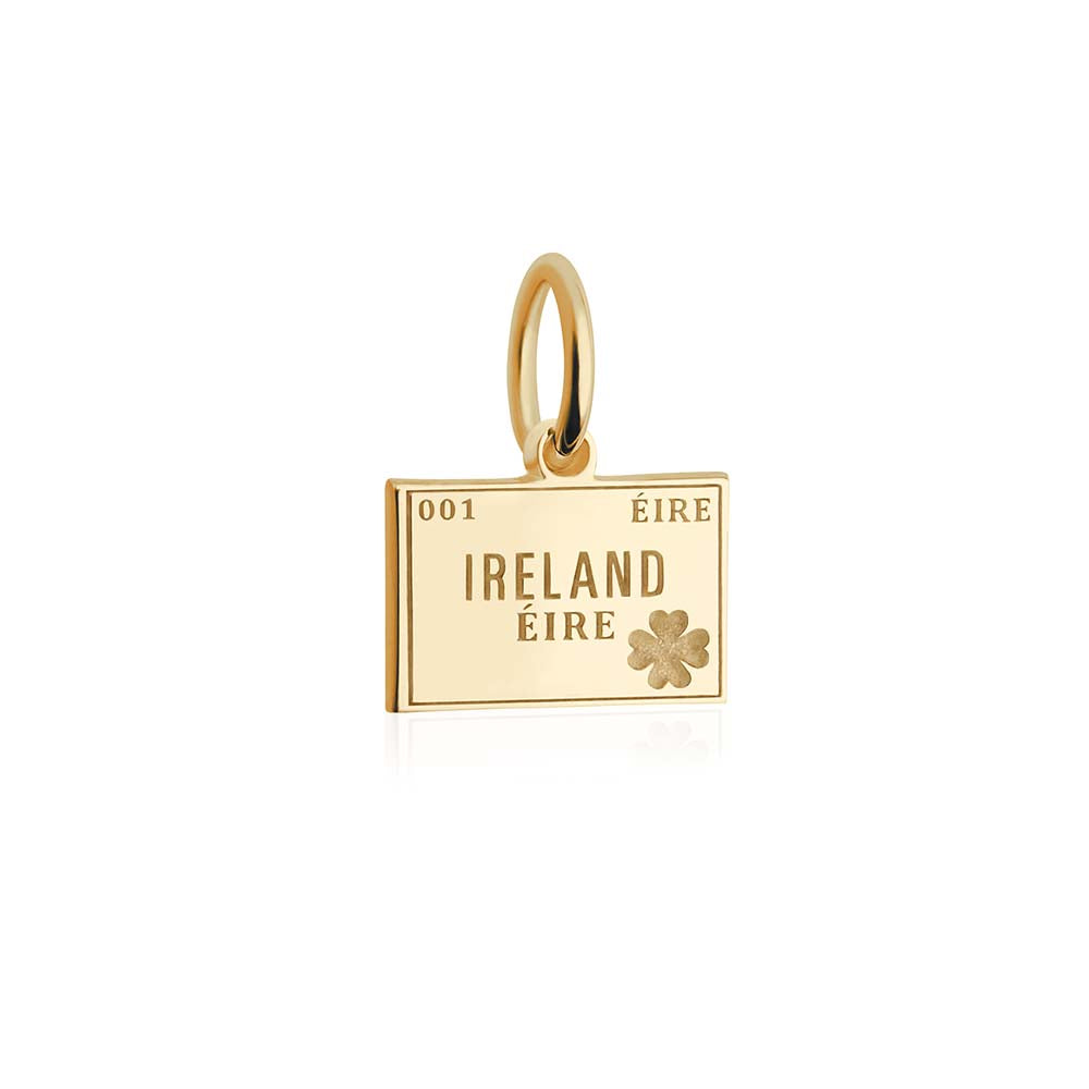 Mini Solid Gold Passport Stamp Charm: Ireland - JET SET CANDY