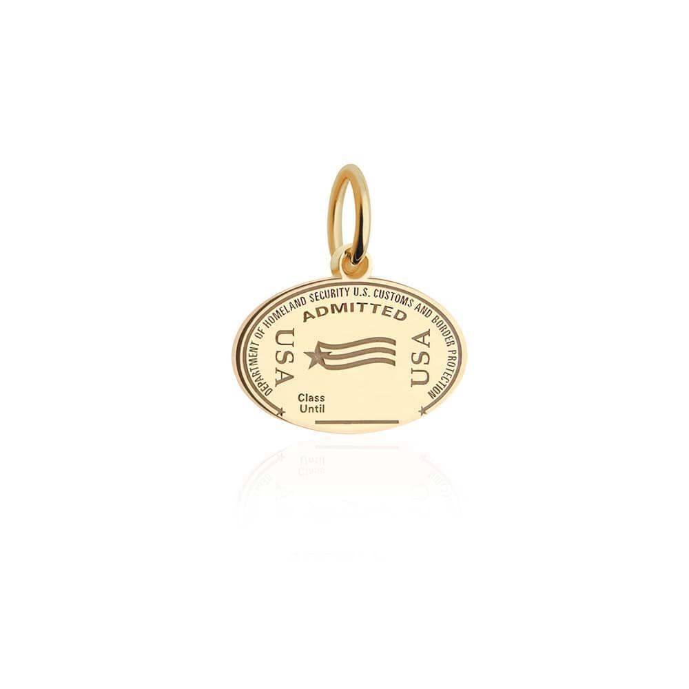 Solid Gold Mini Charm, Passport Stamp: USA - JET SET CANDY