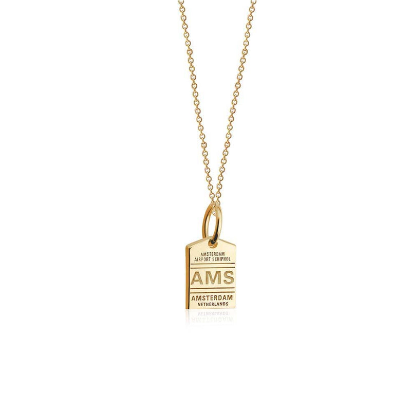 Mini Solid Gold AMS Amsterdam Luggage Tag Charm