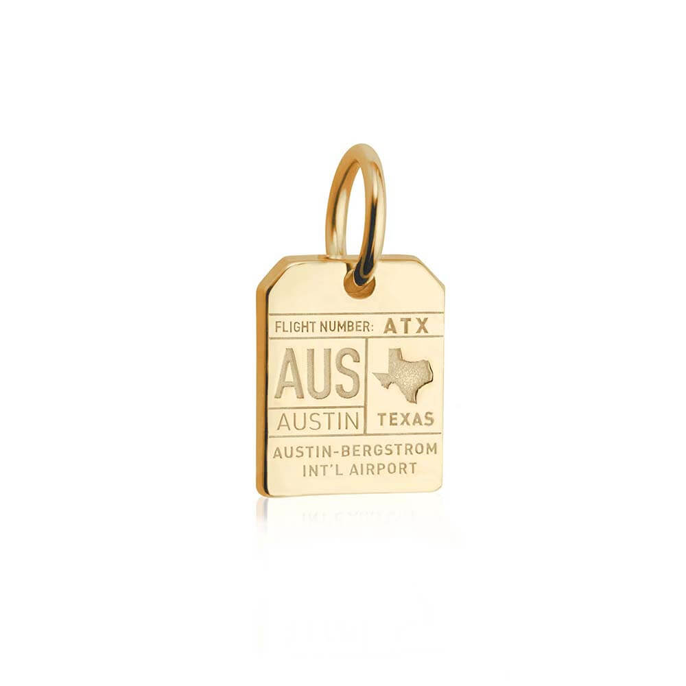 Solid Gold Mini Texas Charm, AUS Austin Luggage Tag - JET SET CANDY