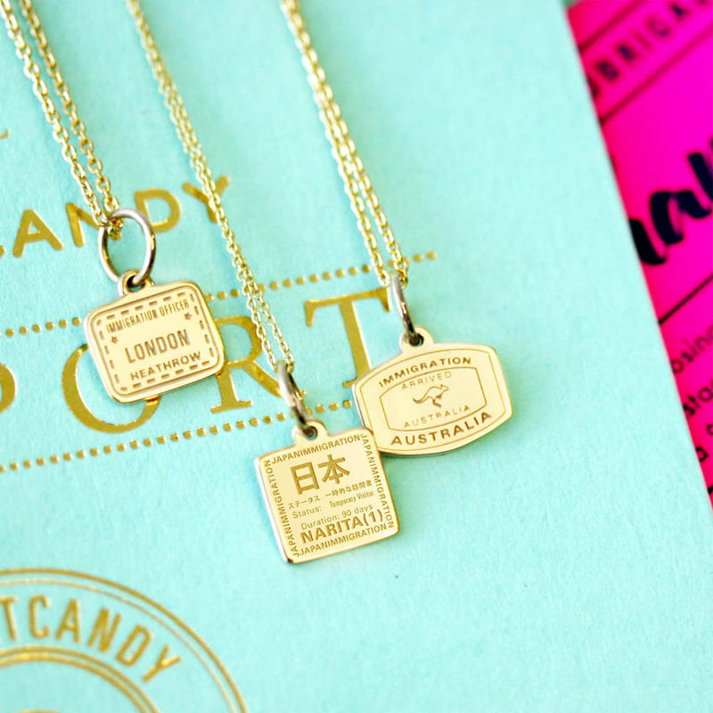 Solid Gold Mini Charm, Passport Stamp: Japan - JET SET CANDY