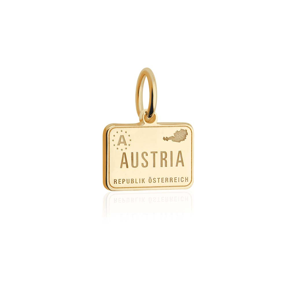 Mini Solid Gold Austria Passport Stamp Charm