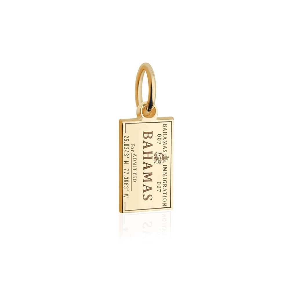 Mini Solid Gold Bahamas Passport Stamp Charm (SHIPS LATE MARCH)