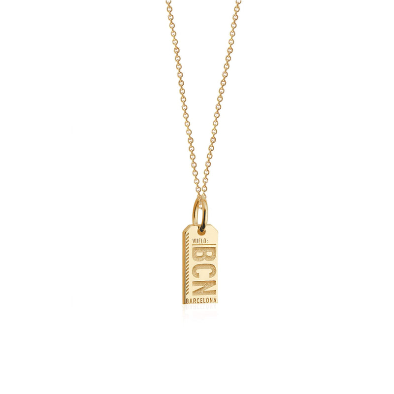 Mini Solid Gold BCN Barcelona Luggage Tag Charm