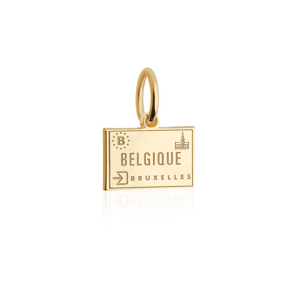 Mini Solid Gold Belgium Passport Stamp Charm