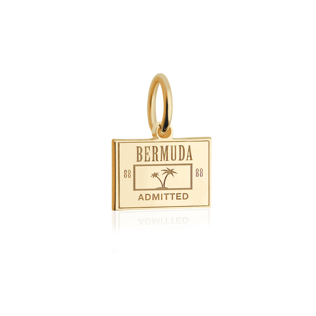 Mini Solid Gold Bermuda Passport Stamp Charm