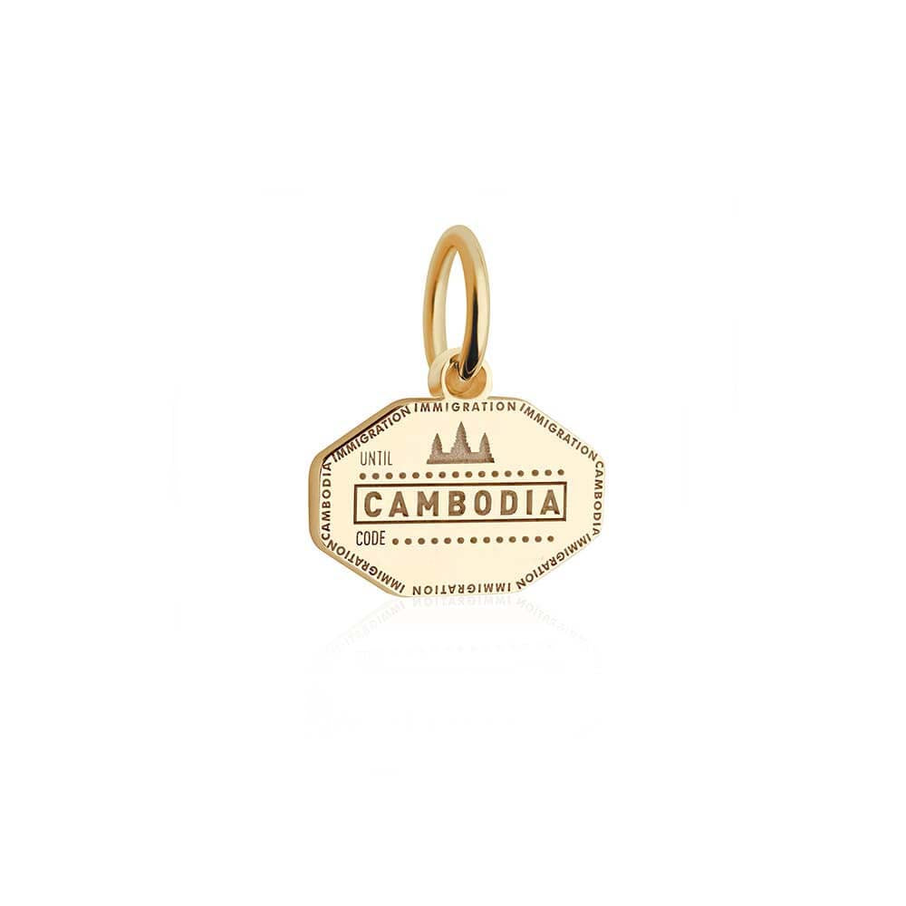 Mini Solid Gold Cambodia Passport Stamp Charm